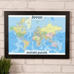 Svetski putnik poklon kanvas
