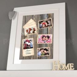 Drveni poklon kolaž od 5 fotografija