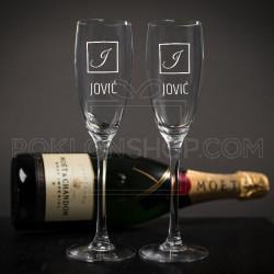 Inicijali i prezime poklon čaša za šampanjac