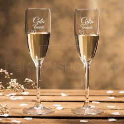Gospodin i Gospođa poklon čaša za šampanjac