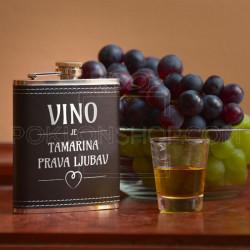 Vino je prava ljubav poklon pljoska