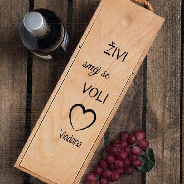 Živi smej se voli poklon kutija za vino