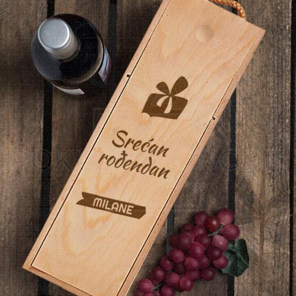 Srećan rođendan sa muškim imenom poklon kutija za vino