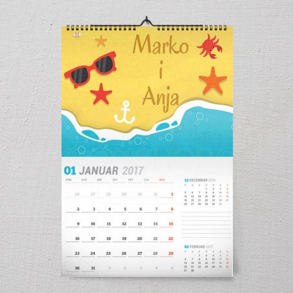 Na plaži poklon kalendar