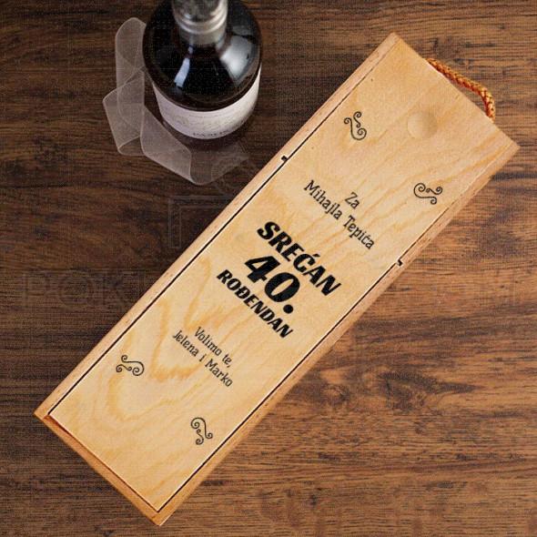 Srecan 40 rođendan poklon kutija za vino