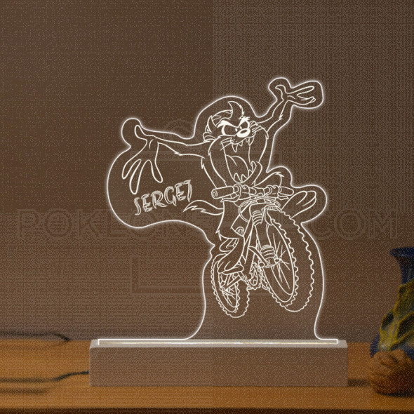 Tasmanijski đavo vozi bicikl poklon lampa