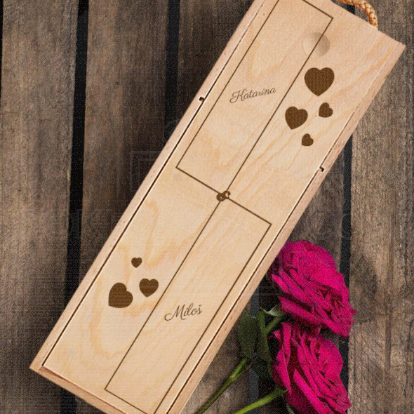 Imena sa srcima poklon kutija za vino