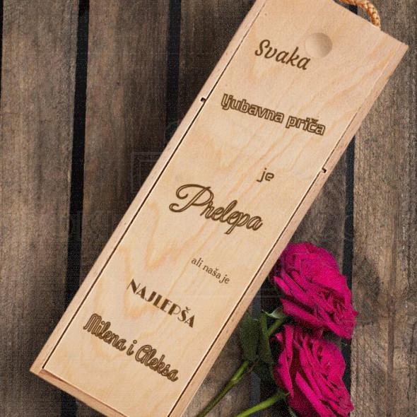 Naša ljubavna priča je najlepša poklon kutija za vino