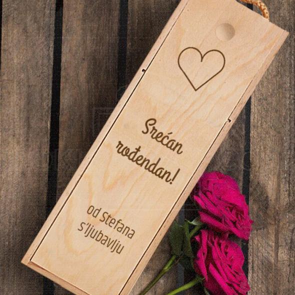 Srećan rođendan sa ljubalju poklon kutija za vino