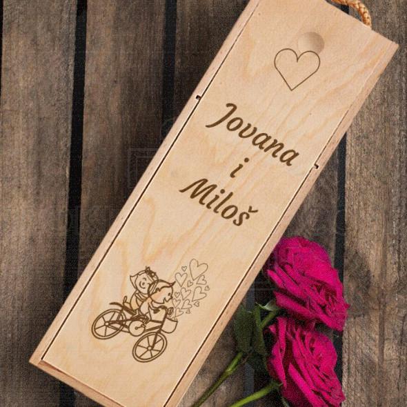 Imena i biciklo poklon kutija za vino