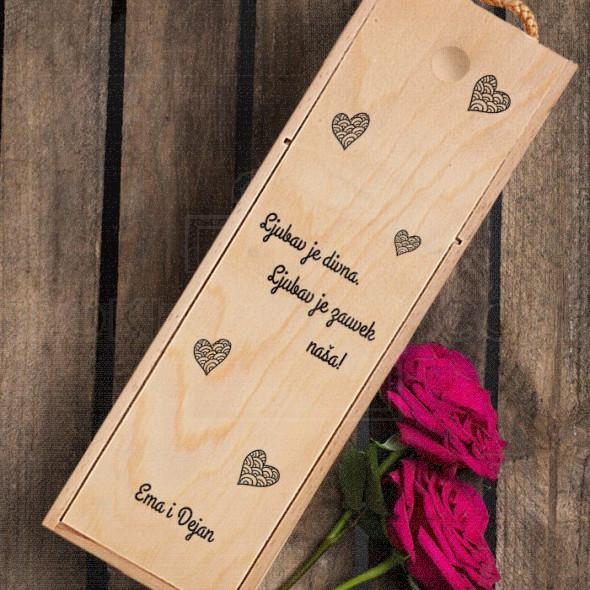 Ljubav je divna poklon kutija za vino