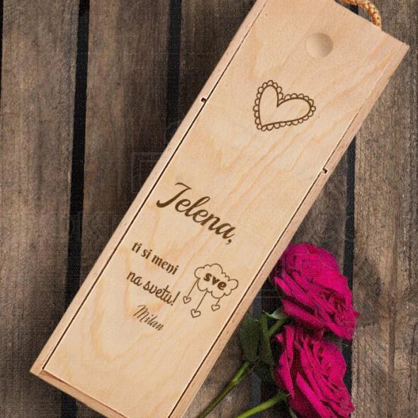 Ljubavna izjava poklon kutija za vino