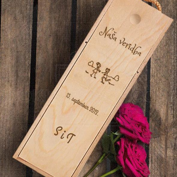 Naša veridba poklon kutija za vino