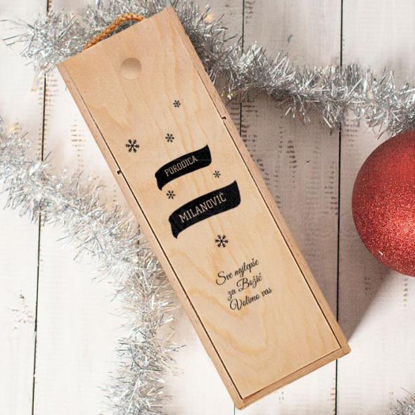 Čestitka od porodice poklon kutija za vino
