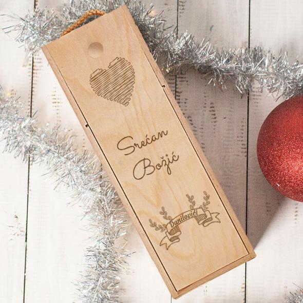 Srećan Božić srce poklon kutija za vino