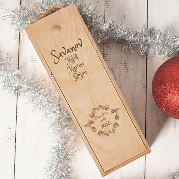 Porodična čestitka za Novu godinu poklon kutija za vino