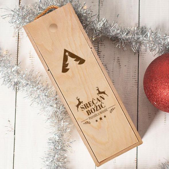 Srećan Božić kutija sa jelenima poklon kutija za vino