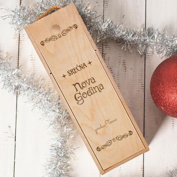 Srećna Vam Nova godina porodica poklon kutija za vino