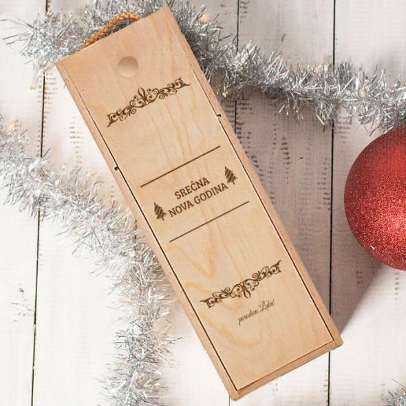 Srećna Nova godina od porodice prezime poklon kutija za vino