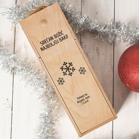 Srećan Božić najboljoj baki poklon kutija za vino
