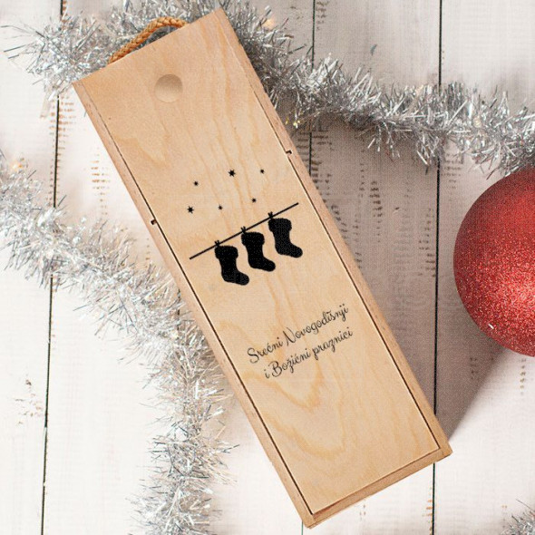 Srećni božicni praznici poklon kutija za vino