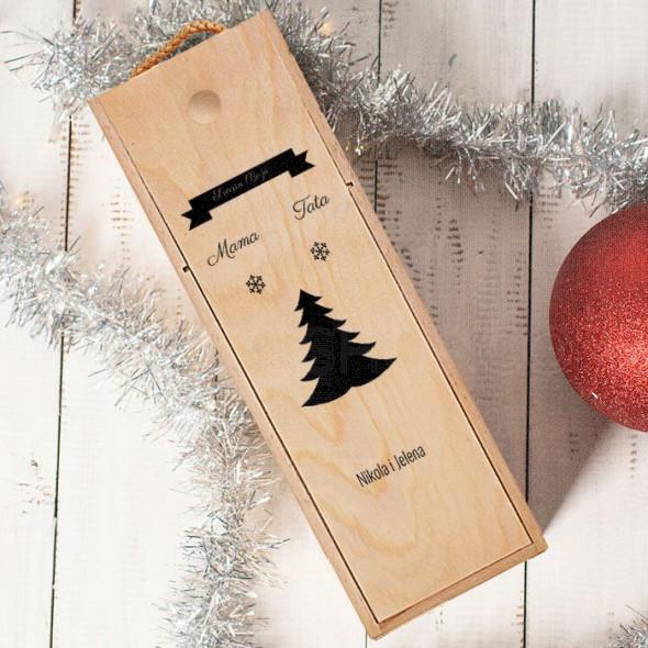 Mami i tati srećna Nova godina poklon kutija za vino