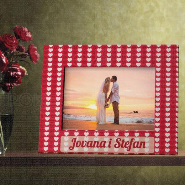 Crveno bela srca poklon ram za slike