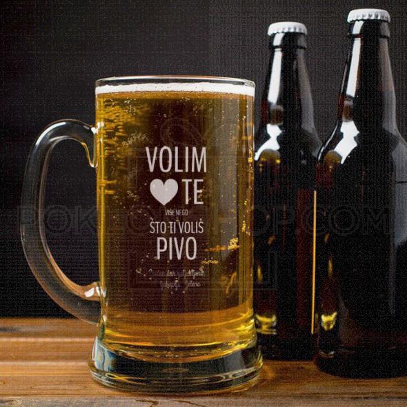 Volim te više od piva poklon čaša za pivo krigla