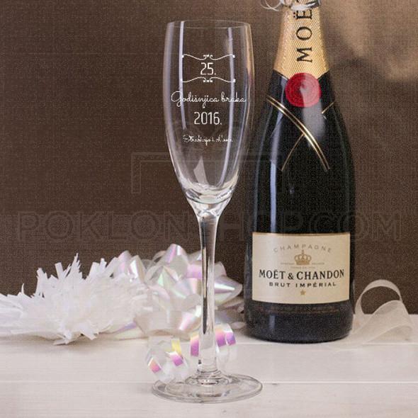 25 godišnjica braka poklon čaša za šampanjac