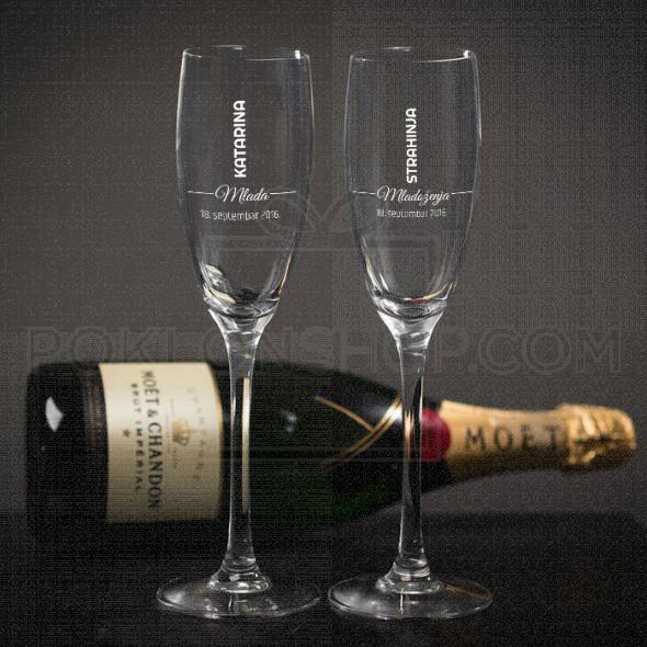 Imena mlade i mladoženje poklon čaša za šampanjac