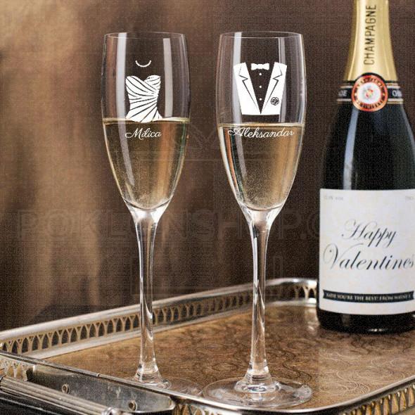 Muškarac i žena poklon čaša za šampanjac