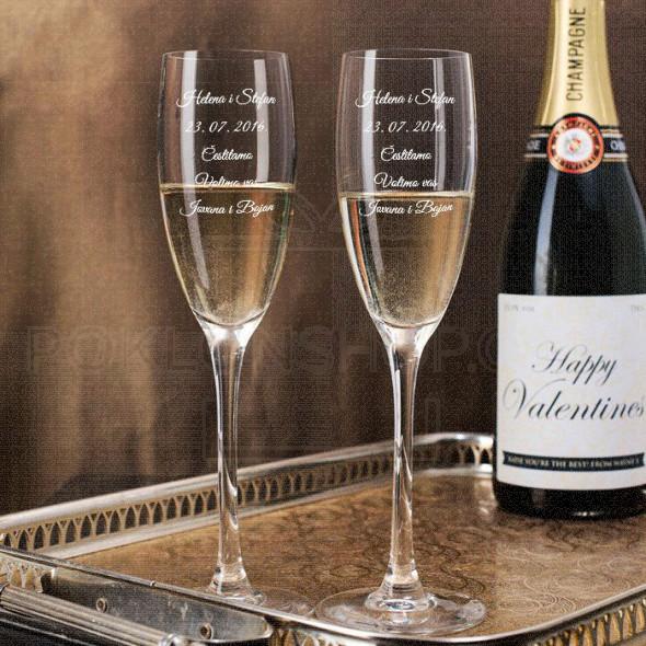 Čestitke poklon čaša za šampanjac