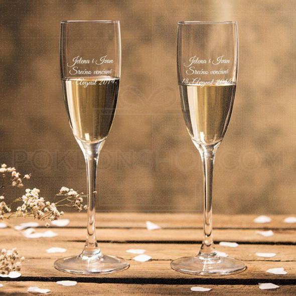 Venčane poklon čaše za šampanjac