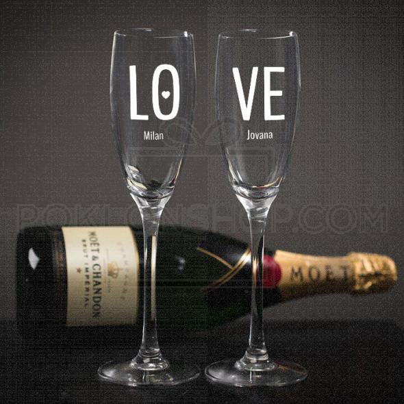 Ljubav poklon čaša za šampanjac