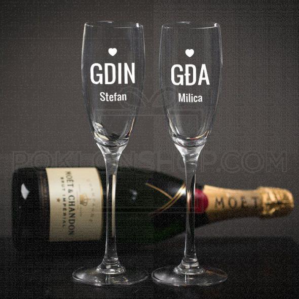 Par poklon čaše za šampanjac