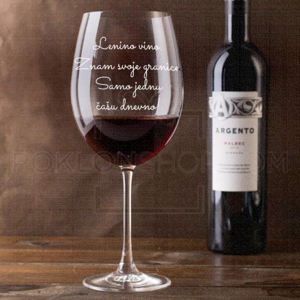 Znam svoje granice poklon čaša za vino