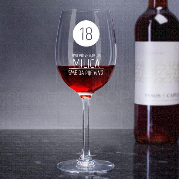 Osamnaesti rođendan  poklon čaše za vino