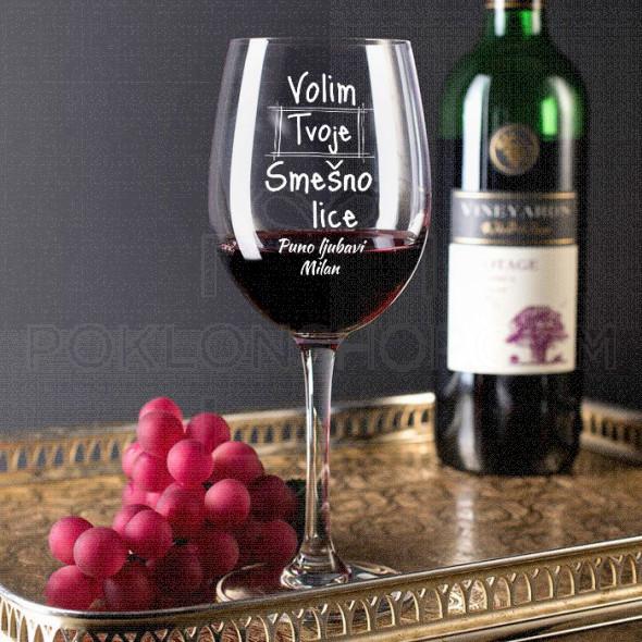 Volim tvoje smešno lice poklon čaša za vino
