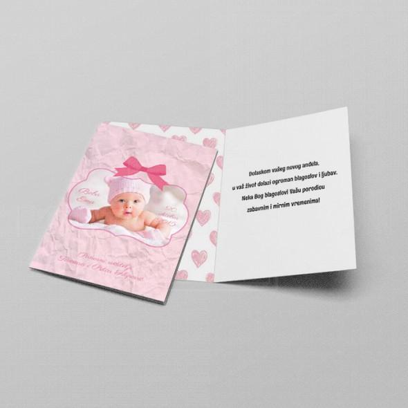 Roze čestitka za rođenje deteta