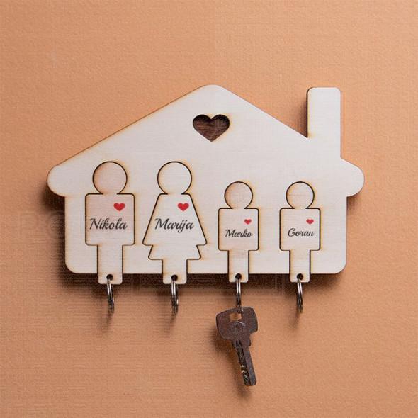 Kućica za četvoro mamu tatu i dva sina nosač za ključeve