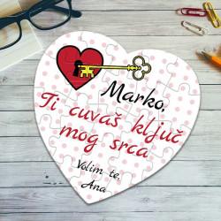 Poklon puzzle srce sa ključem