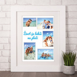 Na plaži kolaž od 5 fotografija