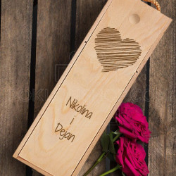 Zaljubljeno srce poklon kutija za vino