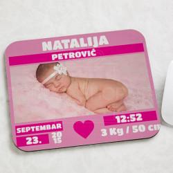 Bebino rođenje devojčica pokolon podloga za miša
