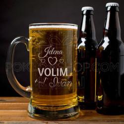 Volim te poklon čaša za pivo
