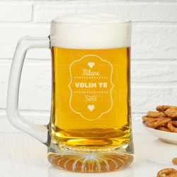 Volim te srce poklon čaša za pivo
