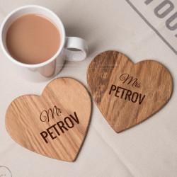 Gospodin i Gospođa srce poklon set podmetača