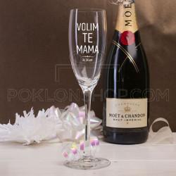 Volim te mama poklon čaša za šampanjac