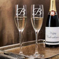 Inicijal i datum poklon čaša za šampanjac