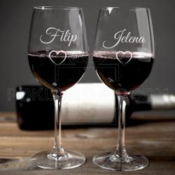 Srce poklon čaše za vino u paru